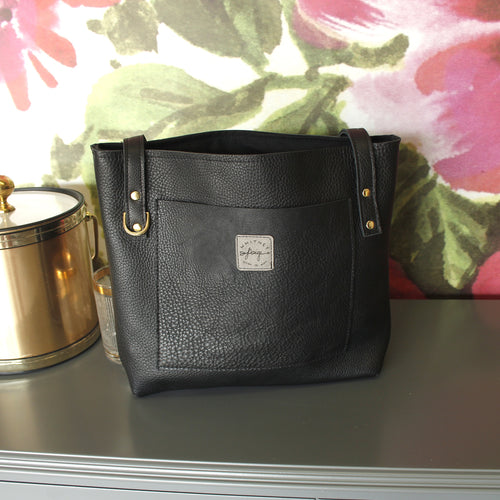 Black Brittley Small Leather Tote - Spiffing