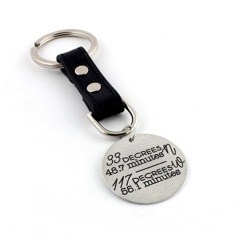 Custom Coordinates Leather Key Chain - Spiffing