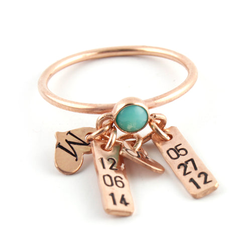 Personalized Gemstone Charm Ring