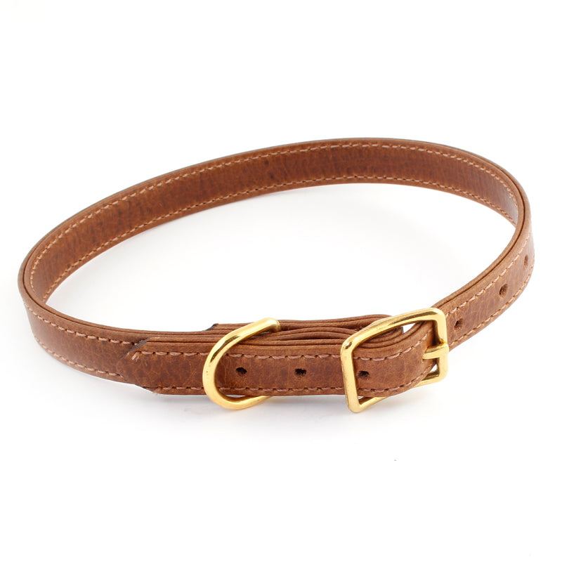 Brown & Gold Leather Pet Collar