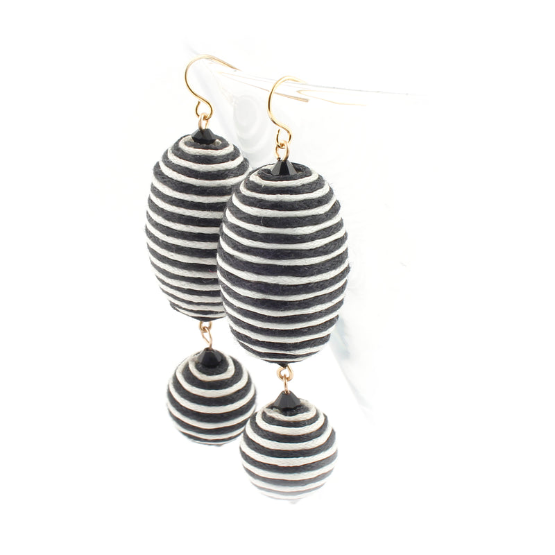 Black Stripes Chunky Beaded Drop Earrings