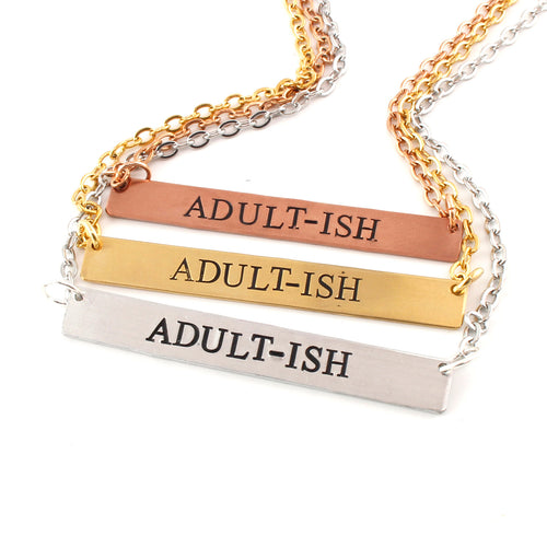 Adult-ish Bar Necklace - in Sterling Silver, Gold, or Rose Gold