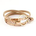 "Pale Gold Glitter Leather Wrap Bracelet - Fits a 6-6.5"" wrist"