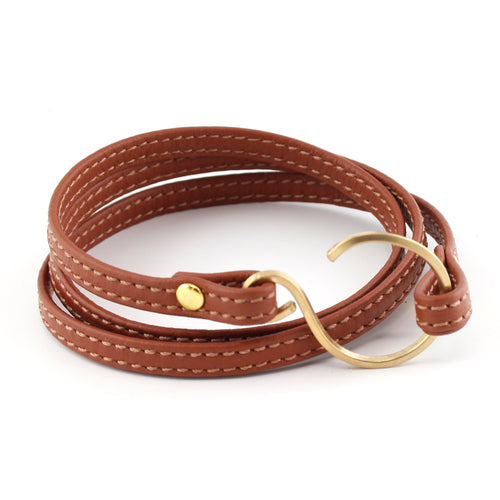 "Brown & Gold Stitched Leather Wrap Bracelet - Fits a 6-6.5"" wrist"