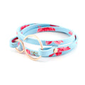 "Blue Floral & Rose Gold Leather Wrap Bracelet - Fits a 6-6.5"" wrist"