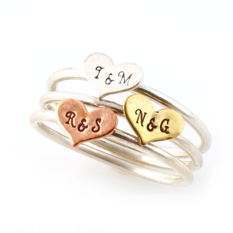 Sitting in a Tree Stacking Ring - Personalized with the initials of you and your love