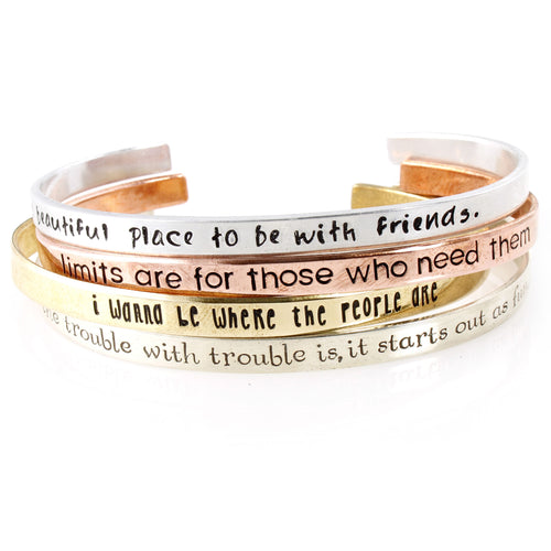 Your Words Here - Skinny Cuff Bracelet - Spiffing