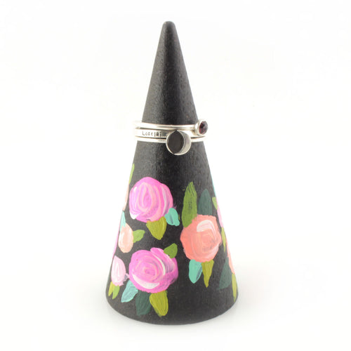 Hand Painted Coral Floral Ring Cone - Spiffing