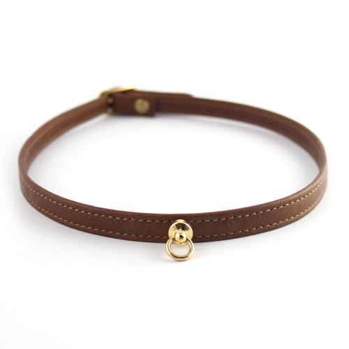 Cognac Brown and Gold Leather Choker - Spiffing