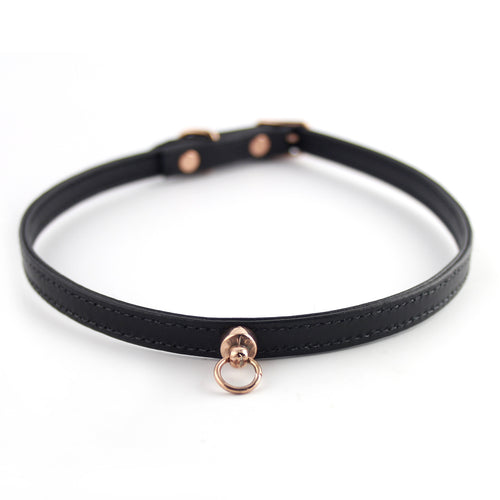 Black and Rose Gold Leather Choker - Spiffing
