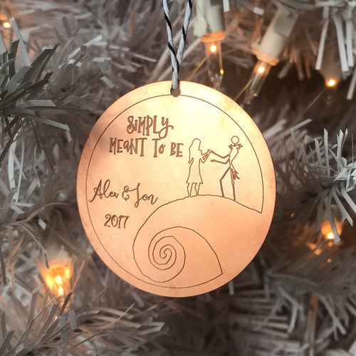 Simply Meant to Be - Personalized Engraved Nightmare Before Christmas Ornament