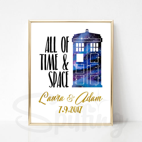 Personalized Doctor Who Art Print - Gold Foil Print - Custom Wedding or Anniversary Gift - Galaxy Tardis