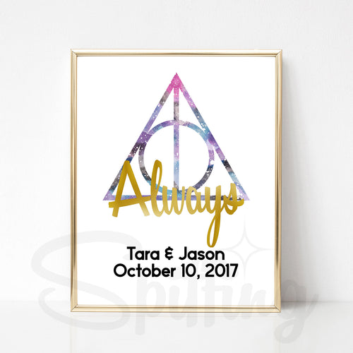 Personalized Harry Potter Art Print - Gold Foil Print - Custom Wedding or Anniversary Gift - Always