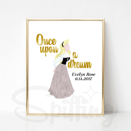 Personalized Sleeping Beauty Art Print - Once Upon a Dream