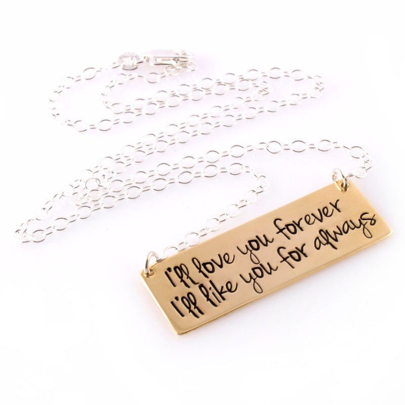 Custom Quote Bar Necklace - Spiffing