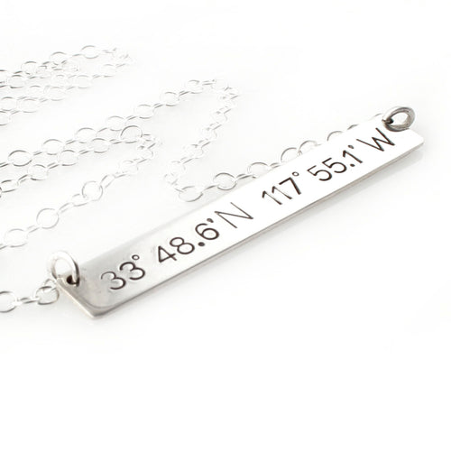 Custom Coordinates Bar Necklace - Spiffing
