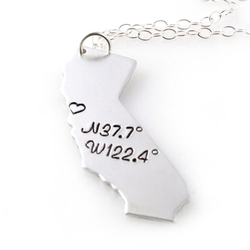 Custom Coordinates State Pendant Necklace - Spiffing