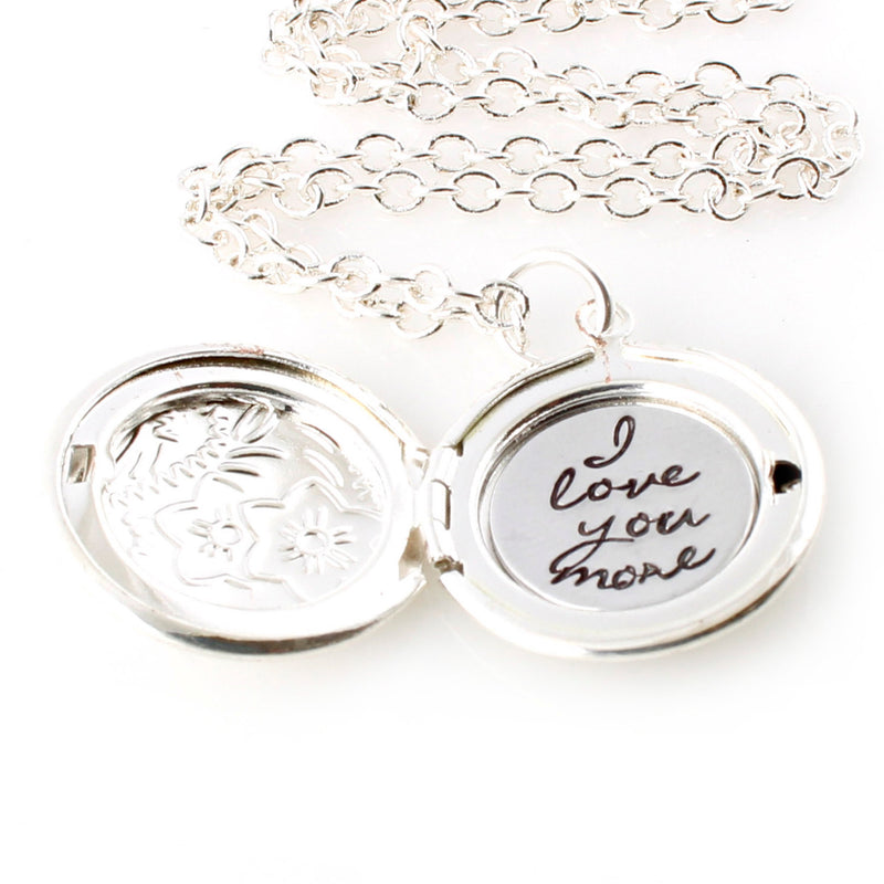 Your Words Here - Floral Locket Necklace - Spiffing