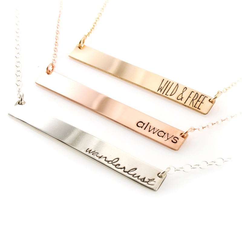 Your Words Here - Bar Necklace - Spiffing