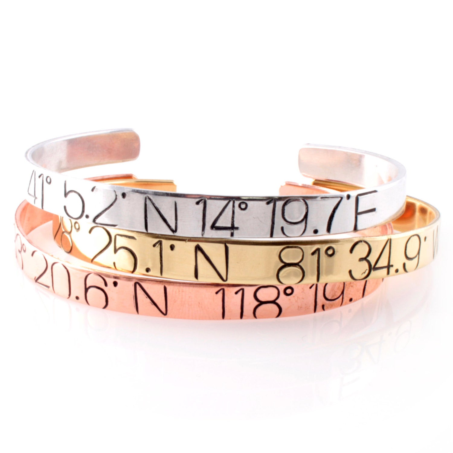 bracelet lat cuff longitude stamped bracelets sale latitude long hand products