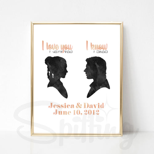 Personalized Star Wars Art Print - Foil Print - Custom Wedding or Anniversary Gift - Han Solo & Princess Leia