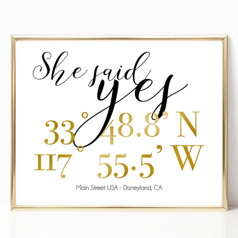 She Said Yes - Custom Coordinates 8x10 Print - Spiffing