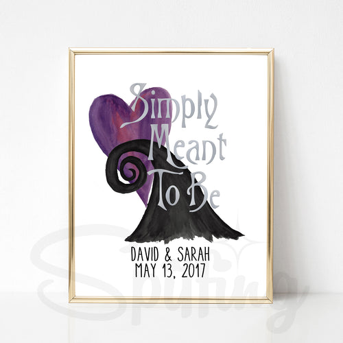 Peronalized Nightmare Before Christmas Art Print - Silver Foil Print - Custom Wedding or Anniversary Gift - Simply Meant to Be