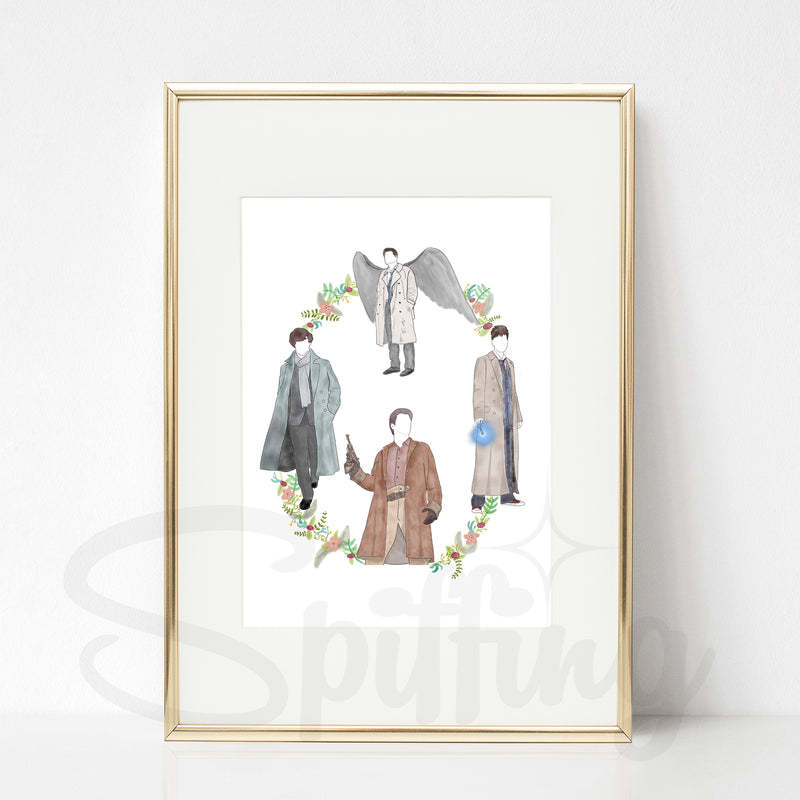 Bless a Trench Coat Art Print - Sherlock, Mal Reynolds, Castiel, & the Tenth Doctor