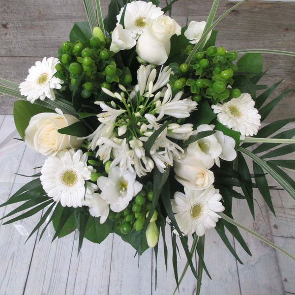 Burlington Florist - White Drop Hand-Tied Bouquet - EuroStyle Flower Market