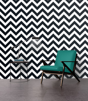 Black & White Chevron Stripes - Wallpapers.com