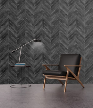 Black Herringbone Wallpaper Installed