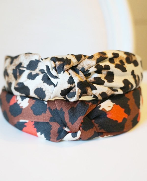 Cheetah Knot Headband - Brown