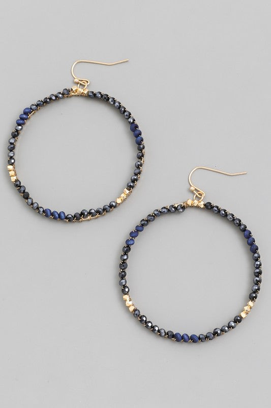 Chan Beaded Hoop Earrings - Navy