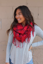 Peyton Plaid Infinity Scarf - Red