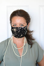Super Comfy Face Mask - Black with Metallic Gold Starbursts