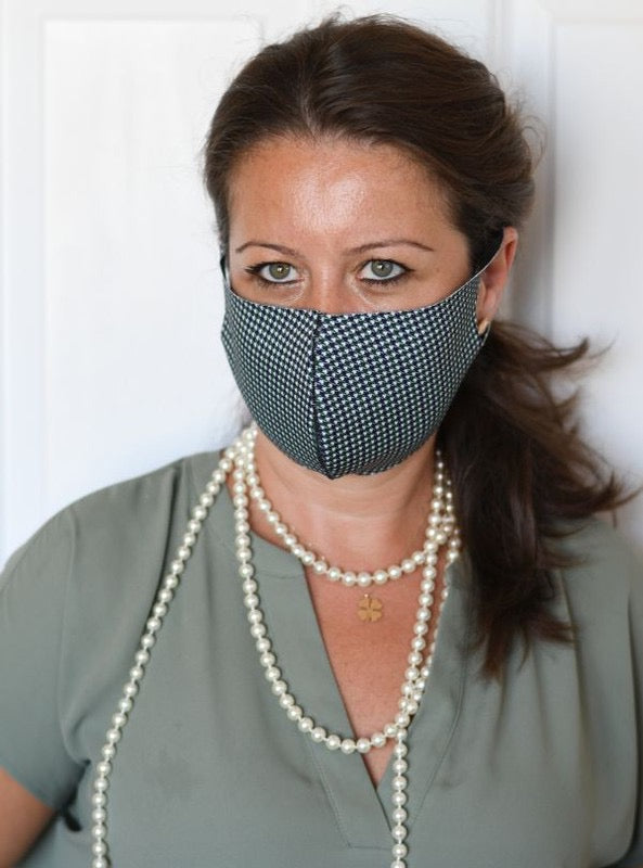 Super Comfy Face Mask - Black & Green Mini Houndstooth