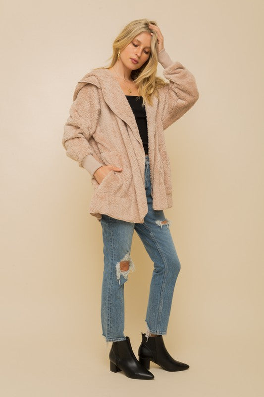 Avery Faux Fur Plush Jacket - Taupe