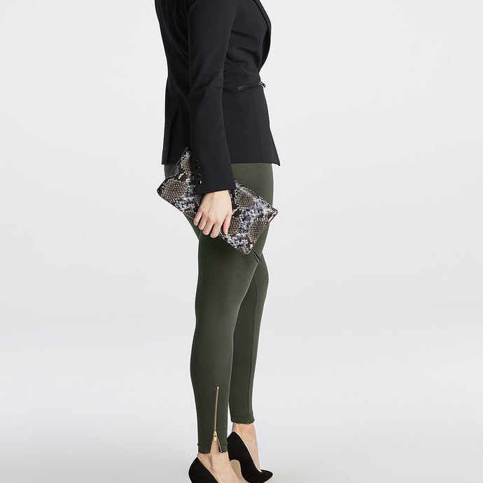 Spanx Look At Me Now Seamless Side Zip Leggings - Deep Olive