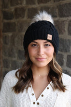 Carly Cable Knit Hat - Black