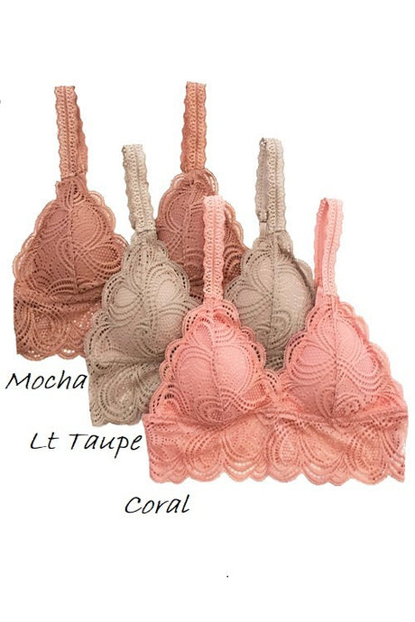 Angel Lace Bralette - Coral
