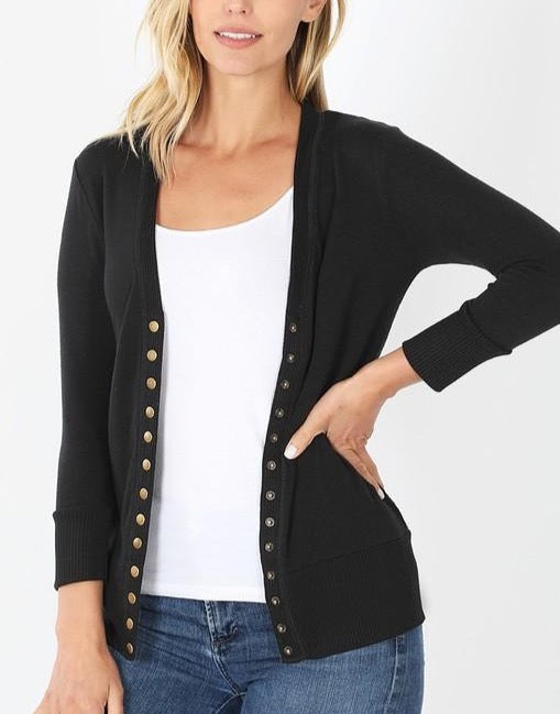 Zadie Button-Up Cardigan - Black