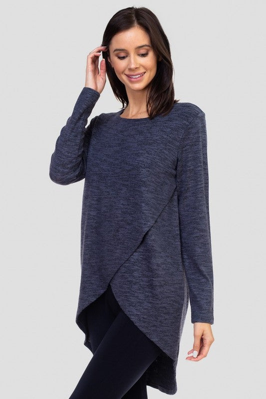 Yvette Faux Wrap Space Dye Top - Charcoal