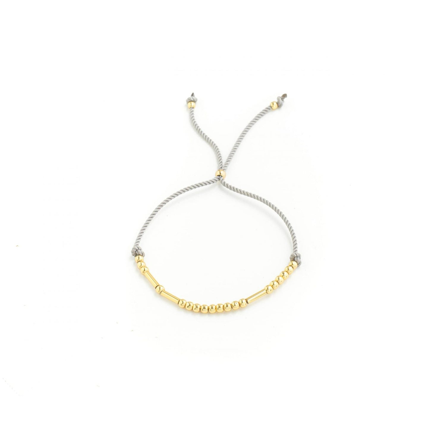 Juno Gold Beaded Cord Bracelet - Light Grey