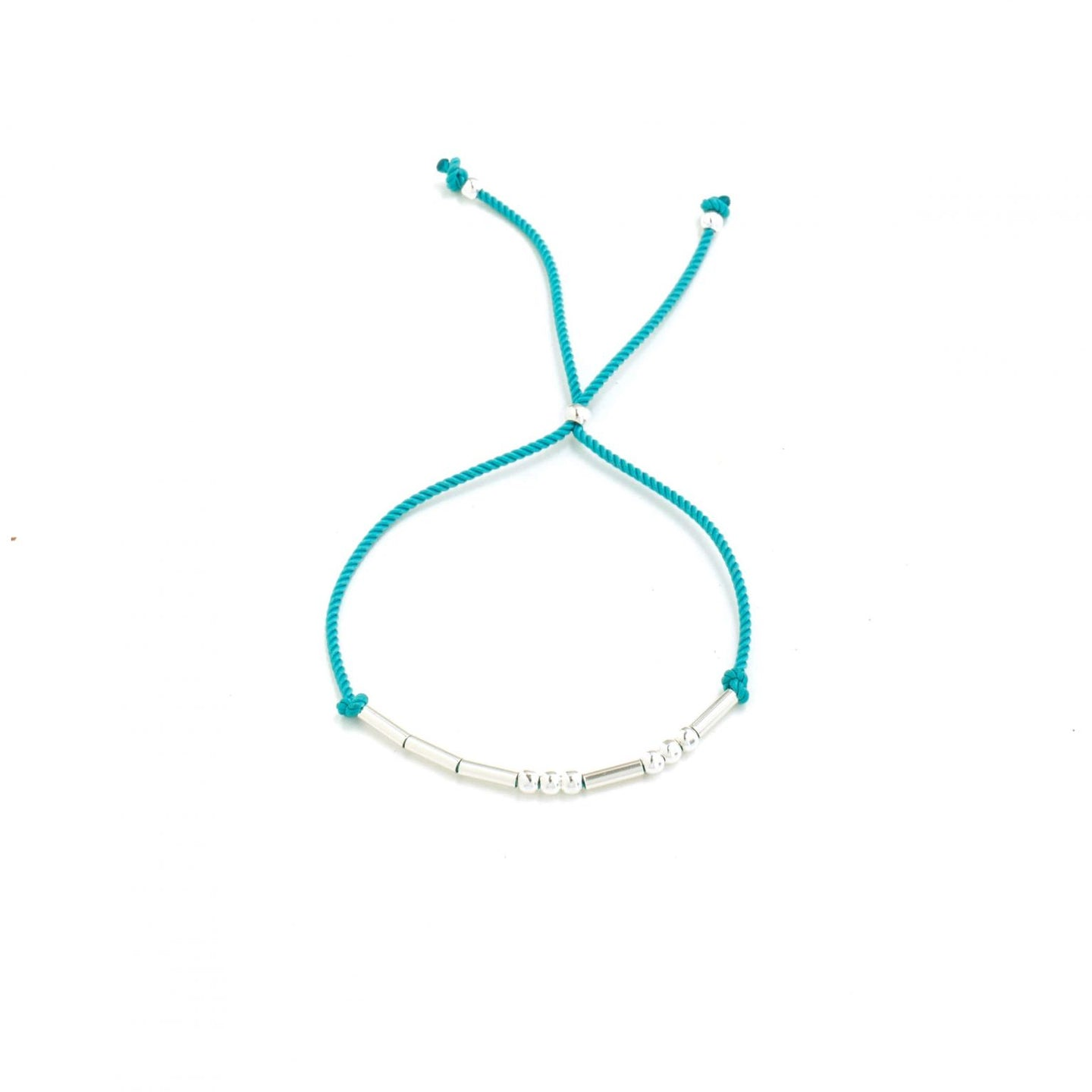 Juno Silver Beaded Cord Bracelet - Turquoise