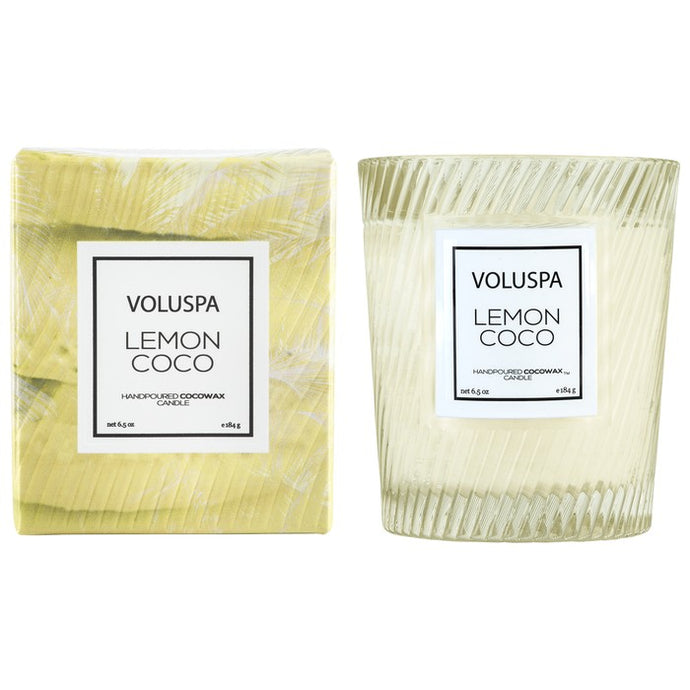 Voluspa Classic Textured Glass Candle - Lemon Coco