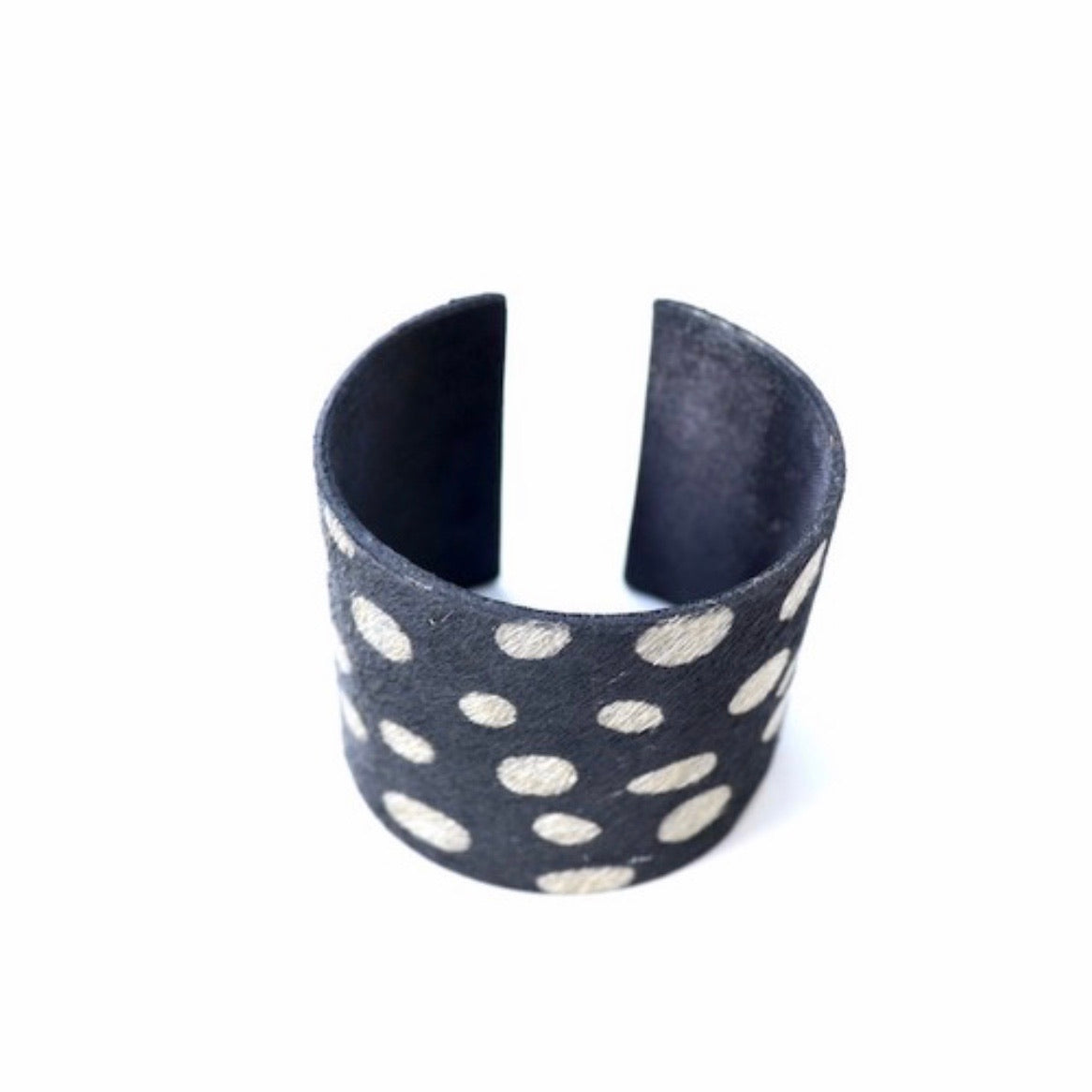 White Spotted Animal Print Cuff Bracelet