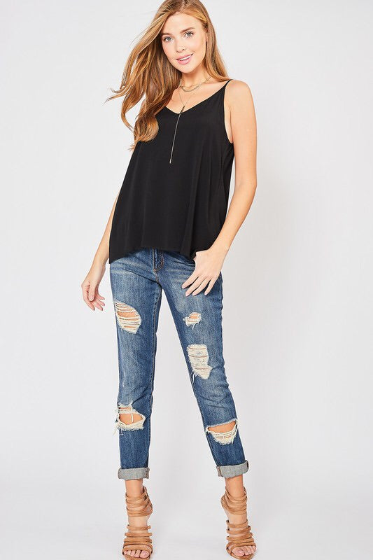 Megan Sheer Tank – Black