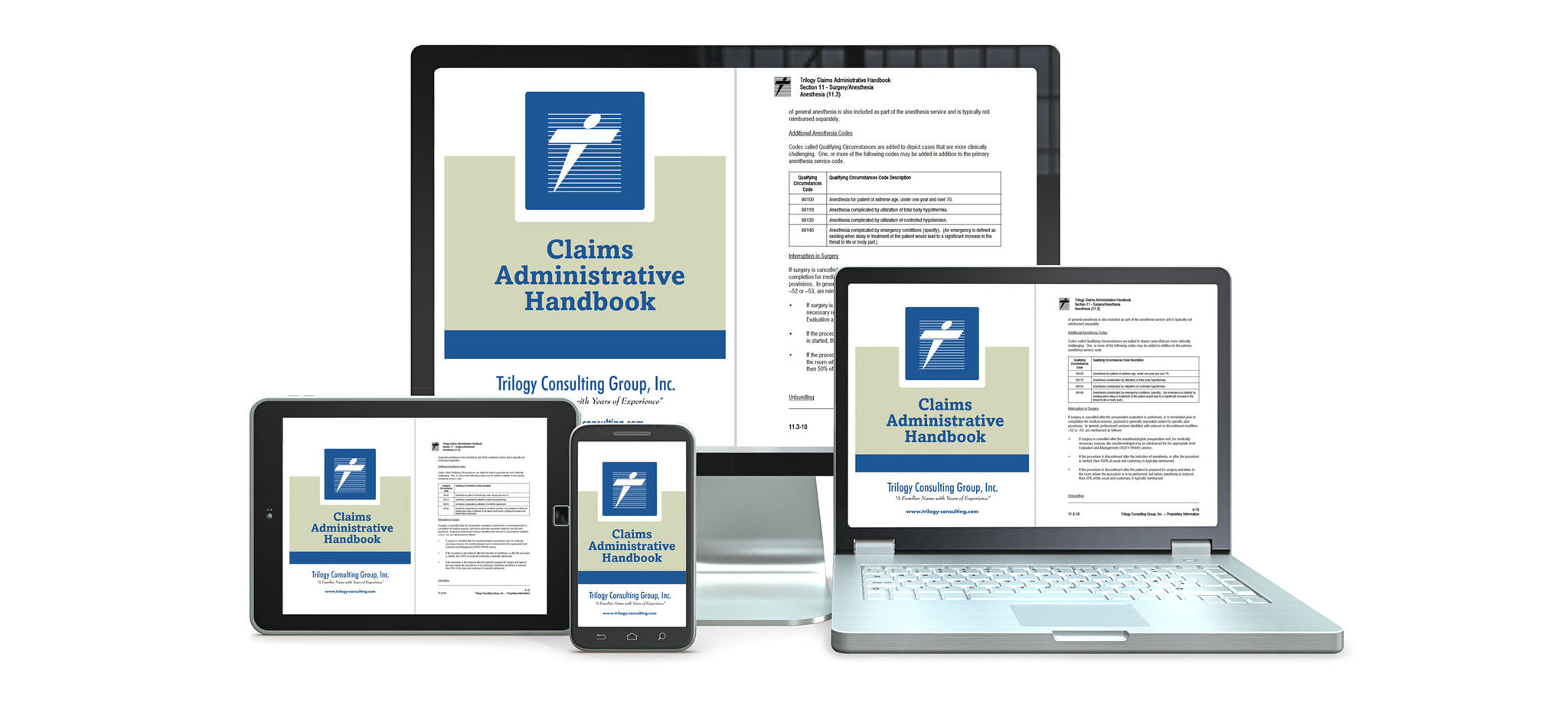 Image of the Trilogy Claims Administrative Handbook on several computer devices
