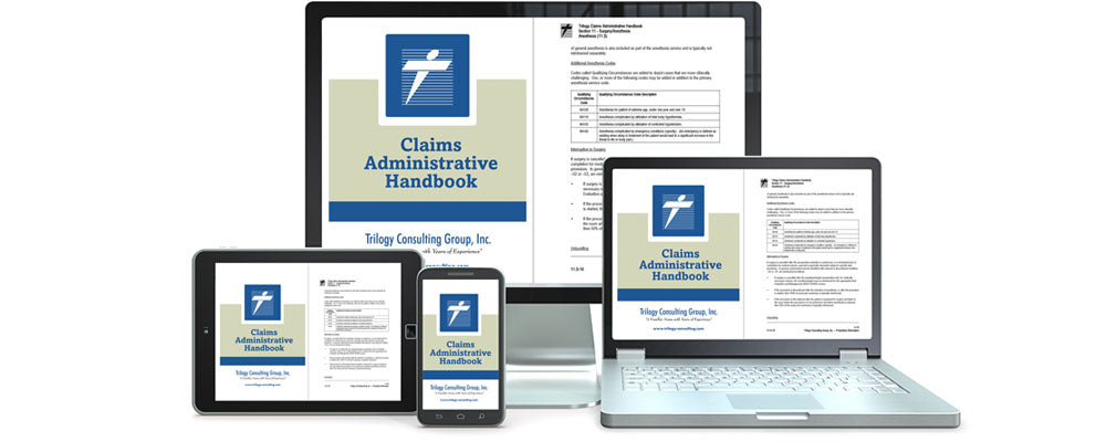 image of Trilogy Claims Administrative Handbook on several electronic devices