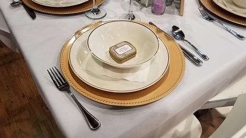 Dinnerware, white with gold salad/soup bowl